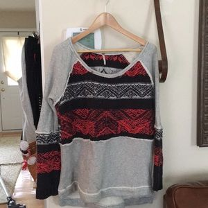 Free People Bohemian Red and Blue Sweater Large